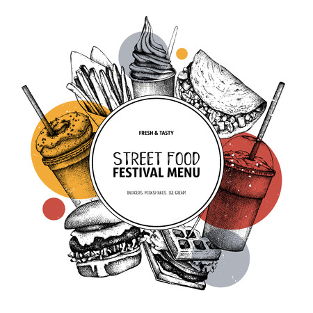 Fast food art. Logo, icon, label, packaging, poster. Street food festival menu with vintage illustrations. Standard-Bild - 122080467