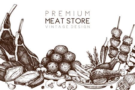 Logo design, packaging, invitation design. Restaurant menu. Meat products collection. Vintage template.