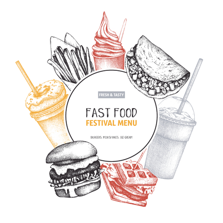 Street food festival menu with hand drawn illustrations. Engraved style fast food design. Vector logo, icon, label, packaging, poster template.