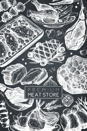 Vector frame with hand drawn food illustration.Top view design. Restaurant menu. Meat products collection. Vintage template on chalkboard