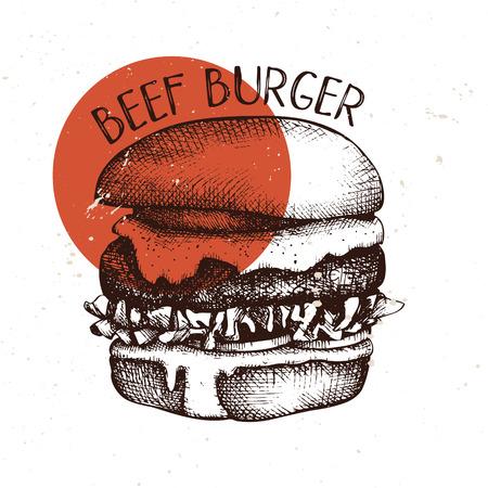Hand drawn burger sketch. Hamburger vector illustrations. Fast food design template. Ilustração
