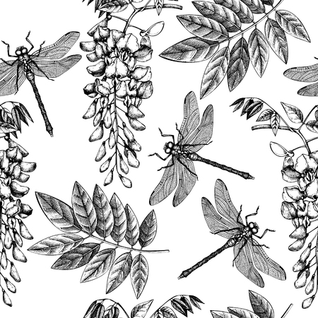 Seamless pattern with hand drawn dargonfly and wisteria flowres. Vector insects sketch. Vinatge spring background. Botanical illustration. Illustration