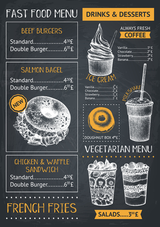 Fast food restaurant or cafe menu template. Hand drawn burgers, desserts and drinks illustrations. Food truck flyer design on chalkboard.