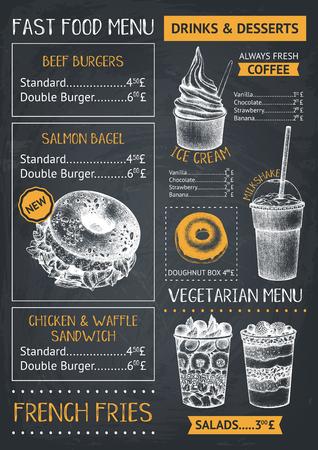 Plantilla de menú de restaurante o cafetería de comida rápida. Dibujado a mano ilustraciones de hamburguesas, postres y bebidas. Diseño de flyer de food truck en pizarra.