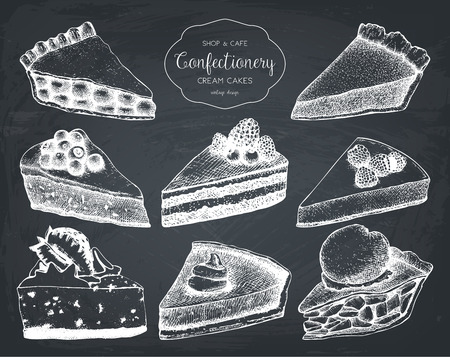 Vector collection of hand drawn baking illustrations. Chalkboard menu design for bakery, cafe or restaurant. Vintage cake, pie and tart sketch set.