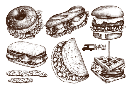 Street food festival menu. Vintage sketch collection. Fast food set. Engraved style design. Vector burgers drawing for logo, icon, label, packaging, poster.