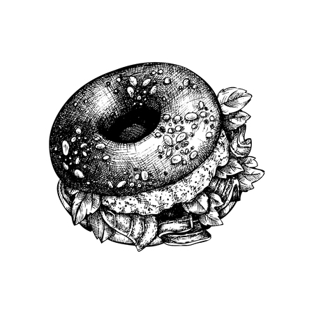 Hand drawn bagel sketch. Bread product vector illustrations. Fast food design template.
