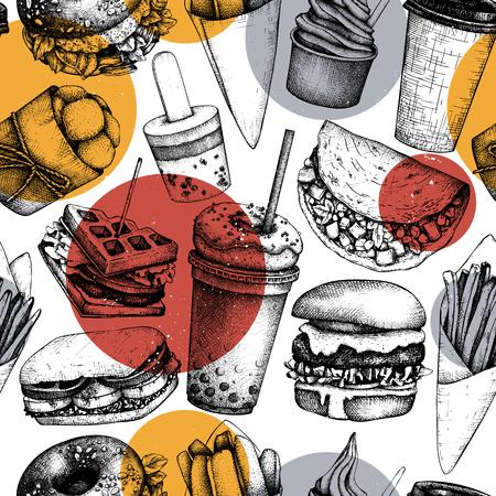 Fast food art. Logo, icon, label, packaging, poster. Street food festival menu with vintage illustrations. Seamless. Illustration