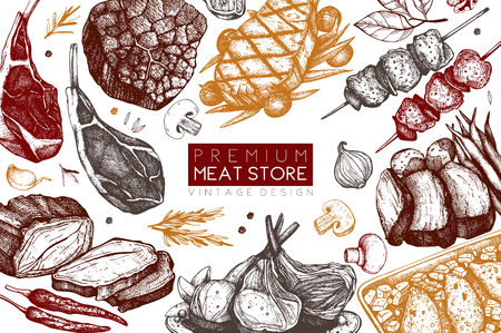 Vector design with hand drawn food illustration. Meats top view frame. Restaurant menu. Meat products design template. Vetores
