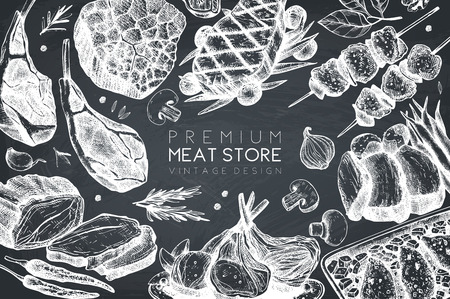Vector frame with hand drawn food illustration.Top view design. Restaurant menu. Meat products collection. Vintage template on chalkboard Vetores