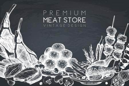 Logo design, packaging, invitation design. Restaurant menu. Meat products collection. Vintage template on chalkboard