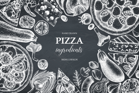 Horizontal design with hand drawn italian pizza ingradients sketches. Vector frame for pizzeria or cafe menu. Top view fast food illustration. Vintage template. Hero image. 일러스트