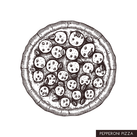 Pepperoni pizza hand drawn sketch. Vector food drawing. Engraving style Pizza with spicy salami. Italian kitchen illustration. Vettoriali