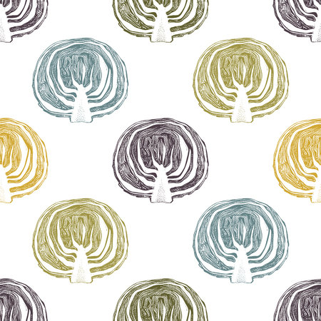 Hand drawn red (purple) cabbage with leaves and head. Vintage vegetables background. Vector harvest seamless pattern. Vektorgrafik