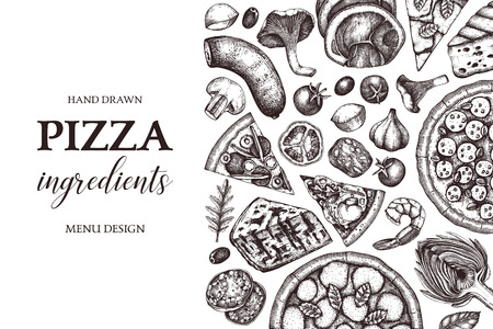 Horizontal design with hand drawn italian pizza ingradients sketches. Vector frame for pizzeria or cafe menu. Top view fast food illustration. Vintage template. Hero image. Illustration