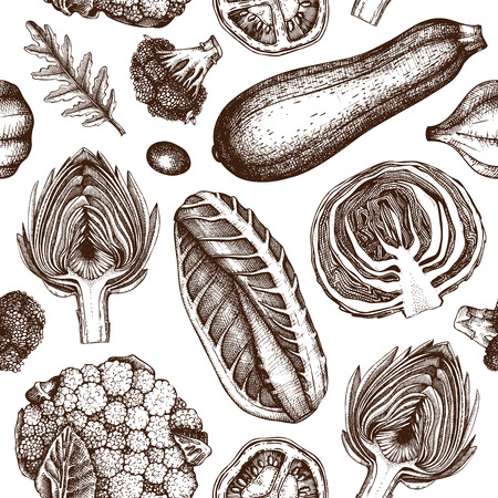 Vegetables market background in engraved style. Seamless pattern with hand drawn spices and veggies. Organic food vector illustration. Vintage drawings.