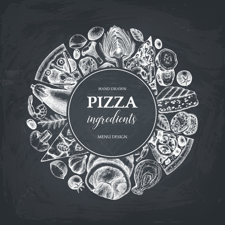 Vector round design with hand drawn pizza ingredients sketches. Menu with meat, seafood, cheese, vegetables, mushrooms. Top view fast food illustration on chalkboard