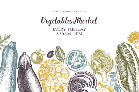 Vector fresh market design template. Vintage sketches. Seasonal farm products illustration on white background. Healthy food drawings. Illustration