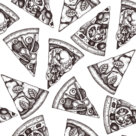 Seamless pattern with hand drawn pizza slice sketches. Vector Italian food drawing for packaging. Engraving style Fast food background isolated on white.