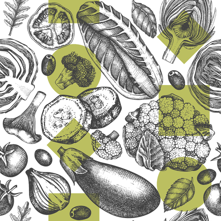 Healthy food vector background. Seamless pattern with sketches. Farm market design in engraved style.