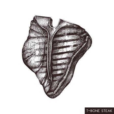 T-bone steak hand drawn illustration. Vector grilled beef drawing on white background. Fresh meat sketch for restaurant menu design.