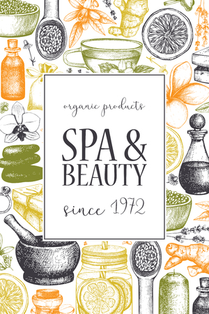 Vinatge dframe with hand drawn SPA and beauty illustrations. Vintage Cosmetics and aromatical ingredients background. Vector template. Healthy life design. Vecteurs