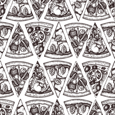 Seamless pattern with hand drawn pizza slice sketches. Vector Italian food drawing for packaging. Engraving style Fast food background.