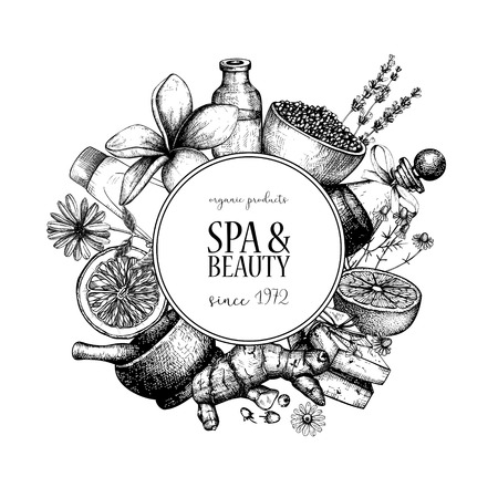 Vector design with hand drawn Spa illustration isolated on white. Beauty sketch background with natural cosmetics. Vintage template with exotic and herbal elements. Ilustração