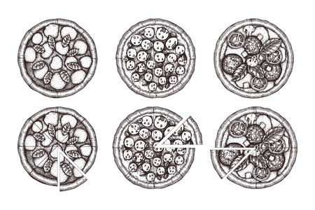 Vector collection of hand drawn Pizza sketches. Vector Italian food drawing. Engraving style for food menu or pizzeria menu design.