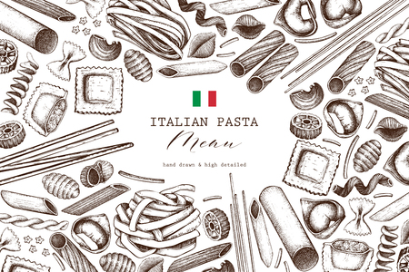 Vector background with traditional italian pasta isolated on white. Hand drawn food sketches. Vintage illustration for cafe or restaurant menu design.