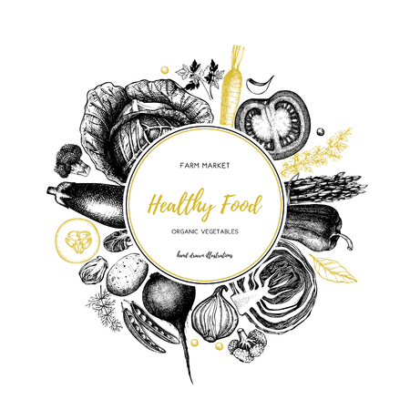 Eco food design with hand drawn vegetables sketch. Organic products frame. Vector template with vintage harvest illustration. Healthy eating.