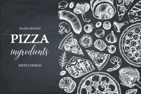 Horizontal design with hand drawn italian pizza ingradients sketches. Vector frame for pizzeria or cafe menu. Top view fast food illustration. Vintage template. on chalkboard