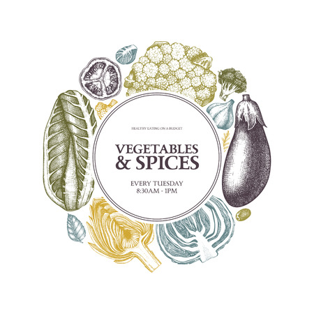 Vector fresh market design on engraved background. Vintage sketches. Seasonal farm products illustration. Healthy food template.