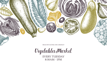 Vector template with hand sketched vegetables. Vintage veggies and spices illustrations. Healthy food drawings for vegetarian or organic menu design. Farm fresh products in engraved style.