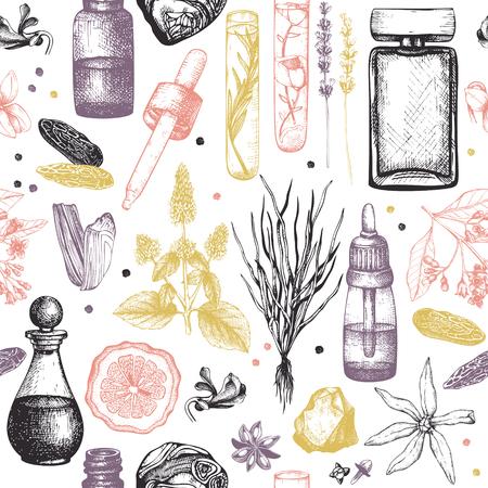 Schizzo di materiali per profumeria e cosmetici. Fondo degli ingredienti del profumo organico e floreale. Illustrazione d'epoca Vettoriali