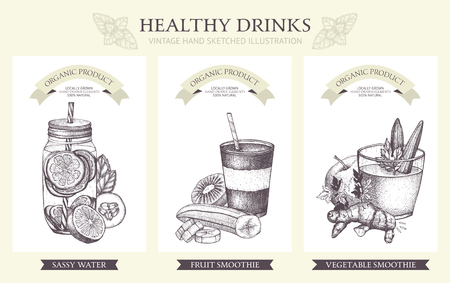 Inking Hand drawn sketch set of detox cocktails. Vintage healthy drinks illustration collection