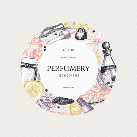 Vector design with hand drawn perfumery and cosmetics ingredients. Decorative background with vintage aromatic plants for perfumery Иллюстрация