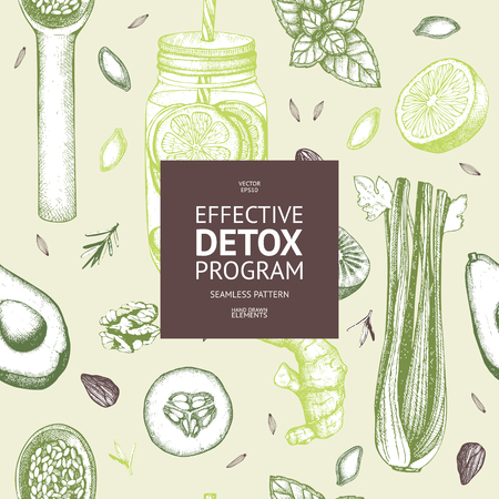 Hand drawn diet elements sketch. Vintage healthy food and detox program background. Иллюстрация