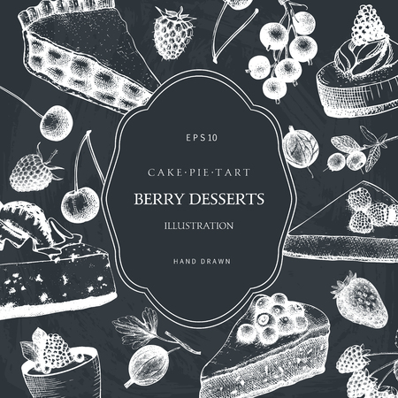Berries desserts illustration. Tart and pie sketch. Sweet bakery. Retro template.