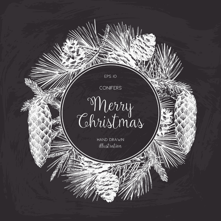 Vintage Design for Christmas Card or Invitation on chalkboard. Conifers Sketch. Happy New Year Template Ilustração