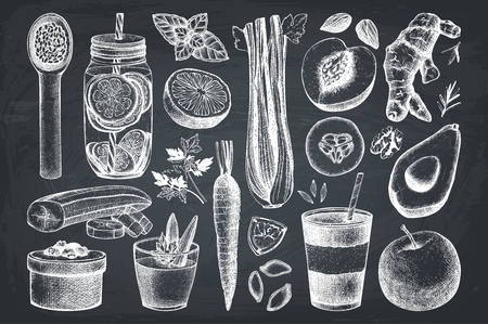 Vector food collection. Detox diet products sketch set. Vintage healthy eating illustration on chalkboard Vectores