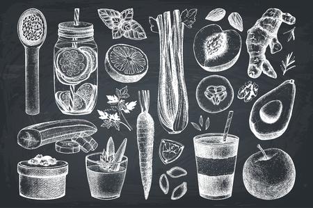 Vector food collection. Detox diet products sketch set. Vintage healthy eating illustration on chalkboard  イラスト・ベクター素材