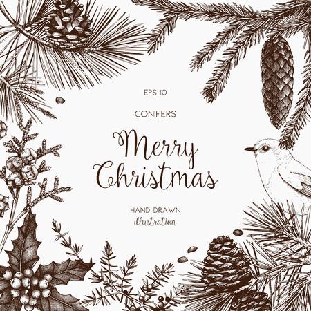 Vintage design na kartkę z życzeniami lub zaproszenie na obchody świąt Bożego Narodzenia. Rama wektor z ręcznie rysowane drzewa iglaste: sosna, świerk, cedr, cyprys, jodła, modrzew, jałowiec.
