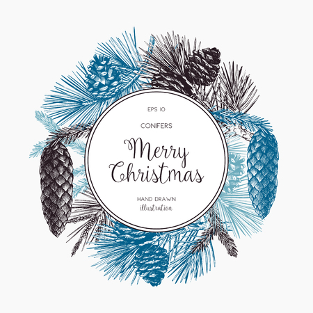 Vintage Design for Christmas Card or Invitation. Conifers Sketch. Happy New Year Template Иллюстрация