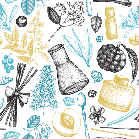 Perfumery and cosmetics materials sketch. Organic and floral perfume ingredients background. Vintage illustration Çizim