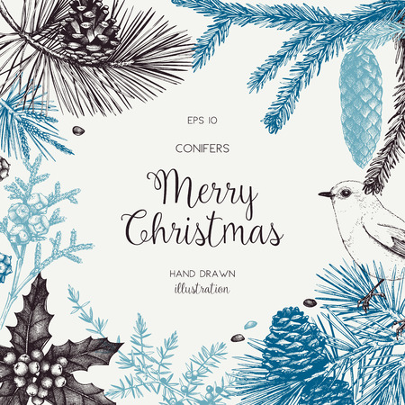 Vintage design for greeting card or invitation for christmas celebration. Vector frame with hand drawn conifers: pine, spruce, cedar, cypress, fir, larch, juniper. Happy New Year template Banco de Imagens - 122851668
