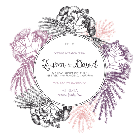 Wedding invitation template. Vintage greeting card with silk tree Vector frame with delicate Albizia elements. Save the Date.