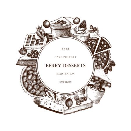 Vector card or invitation design for bakery or baking shop. Ink hand drawn berries desserts sketch for cafe menu. Vintage frame with sweet cake, pie, tart and cupcake illustration. Иллюстрация