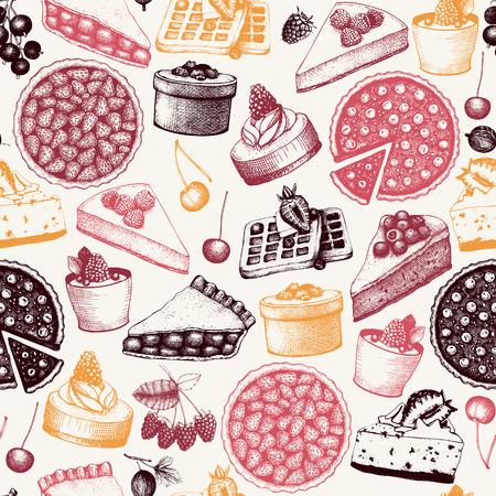 Berry cake, pie and tart illustration. Vintage sketch. Retro Design for bakery or baking shop.