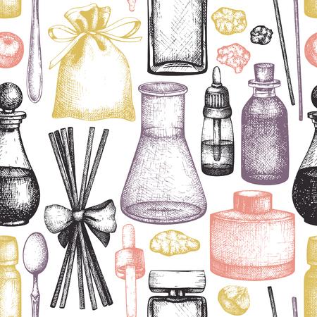 Modello senza cuciture con schizzo disegnato a mano di bottiglie di profumeria e cosmetici. Sfondo di materiali di profumo organico e floreale. Illustrazione d'epoca